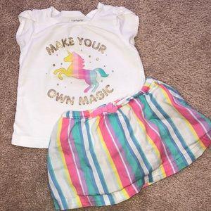 Carter's Unicorn Girls Shirt & Skirt Outfit 12 m